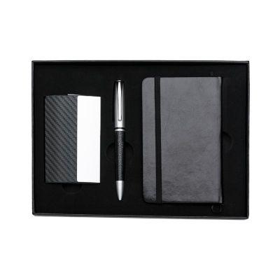 - Kit executivo 3 peças em estojo de papelão com tampa e parte interna revestida de espuma. Contém: porta cartão de couro sintético texturizado com deta...