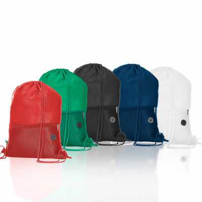 Mochila saco confeccionada em poliéster. Possui compartimento principal superior, bolso frontal d...