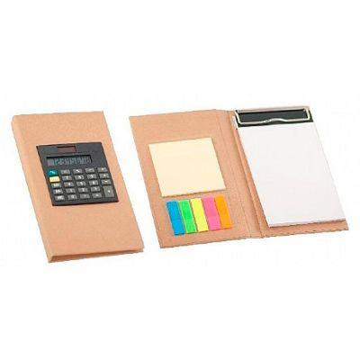 - Bloco de anotações com calculadora, Sticky notes (20 folhas) e marcadores de páginas (azul, verde, amarelo esverdeado, rosa e laranja aproximadamente...