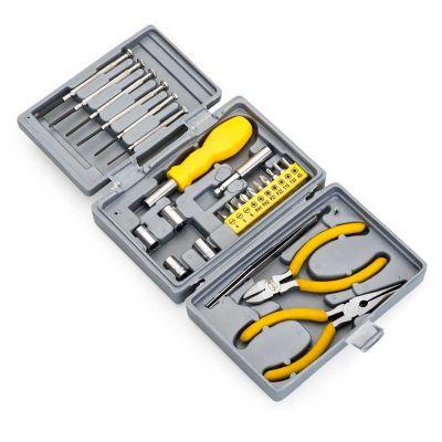 - Kit ferramentas personalizado com 25 peças em estojo plástico resistente.  Conteúdo do kit:  - 10 Pontas de chaves Philips/Allen/Fenda  - 1 Alicate co...