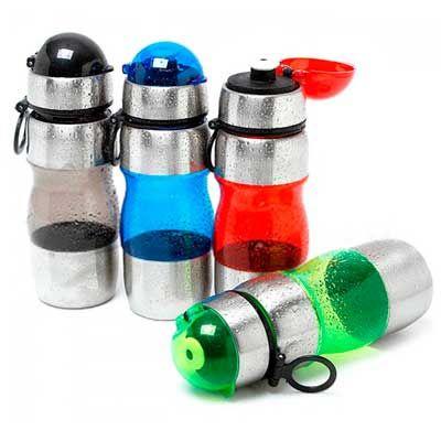 - Squeeze de inox com plástico resistente, capacidade para 450 ml. Medidas para gravação (CxD):4,5 cm x 21,3 cm. Tamanho total (CxD):21,7 cm x 21,3 cm....