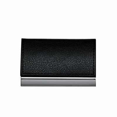 Porta cartão de metal com couro sintético. Couro com textura e costura preta, parte interna revestida com veludo. - Cross Brindes