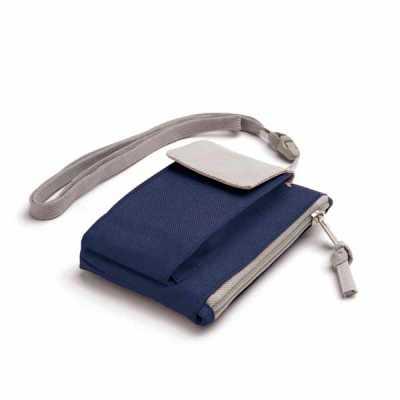cross-brindes - Bolsa chaveiro. 600D. Com bolso para celular e cordão de pescoço. 140 x 100 x 20 mm