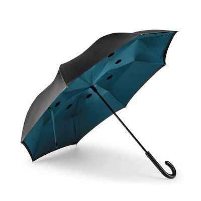 Guarda-chuva reversível. Pongee 190T. Capa dupla. Cabo em metal e varetas em fibra de vidro. Aber...