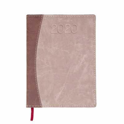 Agenda diária 2020 de couro sintético. Contém fita de cetim marca página, dados pessoais, calendário de 2019 à 2021, mapa do Brasil, mapa global, índi... - Cross Brindes
