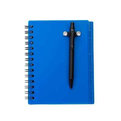 Bloco de anotações plástico, possui régua com a medida de polegada e acompanha uma caneta plástic...