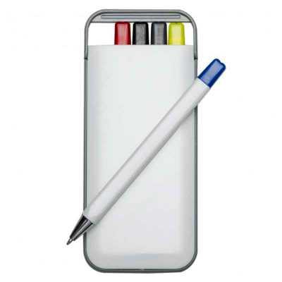 Kit 5 em 1 branco em plástico resistente com gravação personalizada. Possui: caneta/carga azul, c...