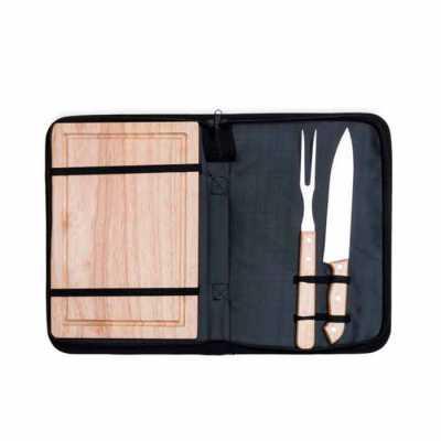 Kit Churrasco 2 Peças com Tábua Personalizado com tábua de madeira em estojo de nylon com alça. Possui tábua de madeira, garfo e faca. Acompanha prote... - Cross Brindes