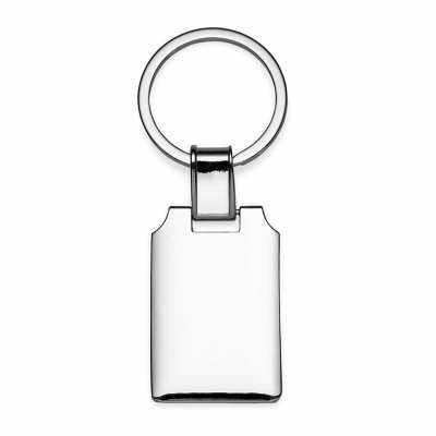 cross-brindes - Chaveiro metal retangular brilhante, frente e verso iguais, suporte da argola giratório.