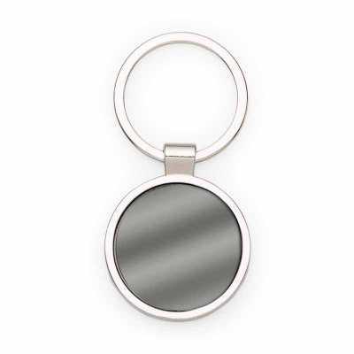 cross-brindes - Chaveiro de metal redondo com chapa frontal em grafite espelhado. Parte traseira lisa brilhante.