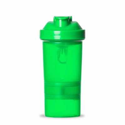 Coqueteleira 400ml plástica porta suplementos desmontável. Possui: copo 400ml(medida em ml e oz),...