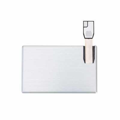 cross-brindes - Pen card 4GB de alumínio. Cartão slim frente e verso liso.