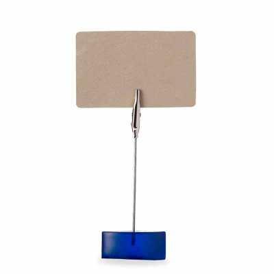 Porta recado na cor azul com base em resina plástica com cabo e clip tipo jacaré de metal, format...