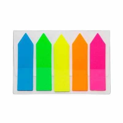 cross-brindes - Conjunto de bloquinhos autoadesivos em carcaça plástica transparente. Possui cinco blocos autoadesivos coloridos com aproximadamente 20 folhas cada.