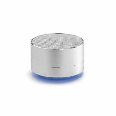 Caixa de som com microfone. Alumínio. Com transmissão por bluetooth e leitor de cartões TF. Com 3...