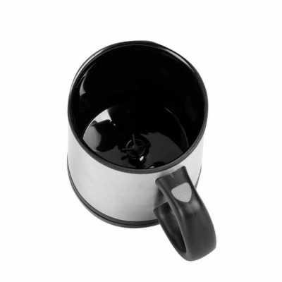 Caneca Mixer 400ml Personalizada em inox, possui detalhes em plástico resistente preto(inclusive a parte interna).Tampa rosqueável e com uma abertura... - Cross Brindes