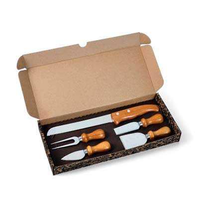 cross-brindes - Conjunto Para Queijo E Faca Para Pão Em Inox / Bambu Personalizado