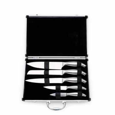 Kit Churrasco 5 Peças Personalizado em maleta de alumínio texturizado com placa central para personalização. Possui cinco facas(com proteção plástica)... - Cross Brindes