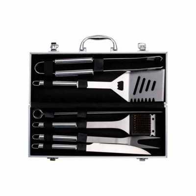 Kit Churrasco 7 peças com Logo em maleta de alumínio com relevo. Possui: pegador, espátula, duas chairas, faca, escova para limpeza(acompanha protetor... - Cross Brindes