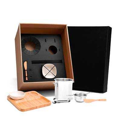 Kit para drinks e petiscos Conta com balde para gelo, dosador e pegador em Inox; petisqueira e du...