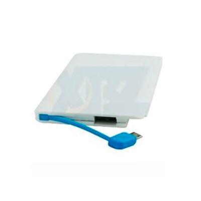 Soluções Brindes - Power bank em formato de cartão na cor branco e azul com entrada USB Medidas para gravação (CxL): 8,3cm x 5,0cm Tamanho total: 9,5cm x 6,3cm Tamanho c...