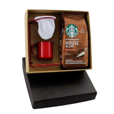 Kit Café com coador individual para café em inox, caneca de inox colorido de 150 ml, gravação nas...