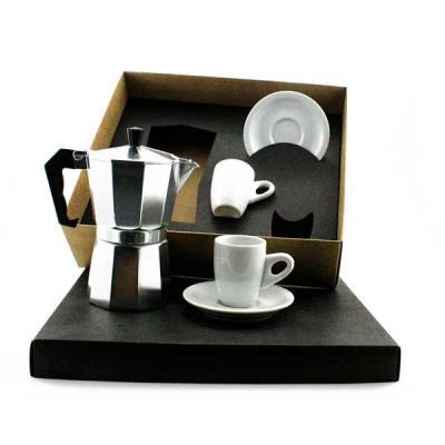 Kit Café em caixa de papel duplex com cafeteira Italiana de inox de 3 doses com 2 xícaras de porc...