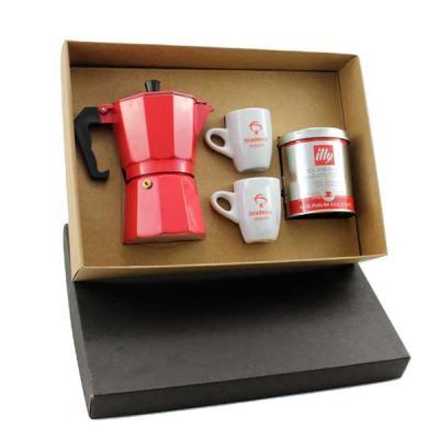Kit em caixa de papel, cafeteira Italiana colorida de 6 doses, 2 xícaras de porcelana, lata de ca...