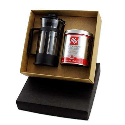 Kit Café em caixa de papel, cafeteira Francesa de 300ml, lata de café Illy em pó 125grs, gravação...