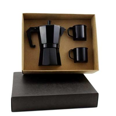 Kit Café em caixa de papel duplex com cafeteira Italiana de inox de 6 doses colorida, 2 caneca de...