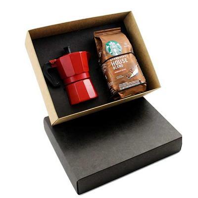 Kit café com cafeteira Italiana Colorida de 6 doses, café Starbucks 250grs, gravação na cafeteira...