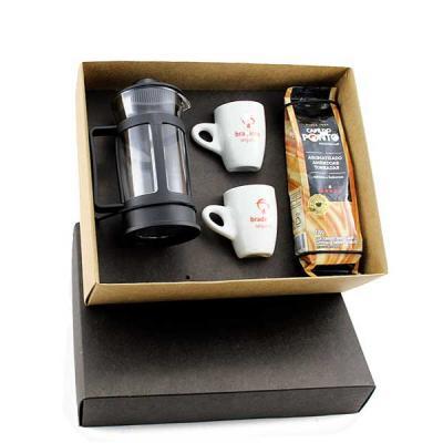 Kit Café em caixa de papel, cafeteira Francesa de vidro 300 ml, 2 xícaras de café sem pires, café...