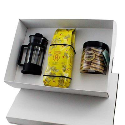 Kit Café em caixa de papel, cafeteira Francesa de vidro 300 ml, café Havanna 250grs, biscoito Don...