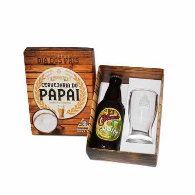 Kit cerveja em caixa de papel duplex com cerveja artesanal Colorado 300 ml com 1 copo de vidro de 200 ml para cerveja com gravação no copo e na tampa...