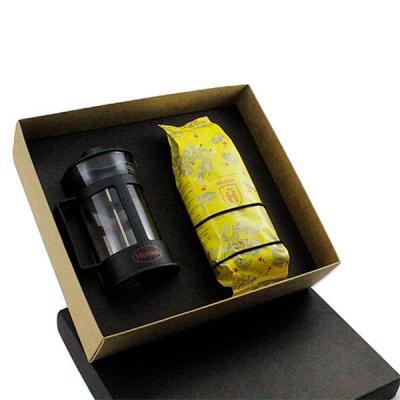 Kit Café em caixa de papel, cafeteira Francesa de vidro 300 ml, café premium Santo Grão 250grs co...