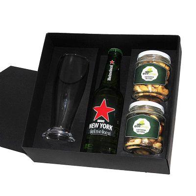 Kit cerveja com copo e petiscos - Design Promo