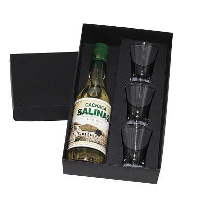 design-promo - Kit cachaça Salinas Cristalina de 300 ml com 3 copos de dose de vidro