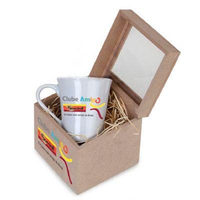 Kit com caneca de porcelana de 300 ml com 2 sachês de chá - Design Promo