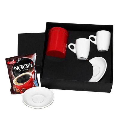 Kit café com 2 xícaras de porcelana e 1 lata de alumínio com sachê de café solúvel de 50 gramas - Design Promo
