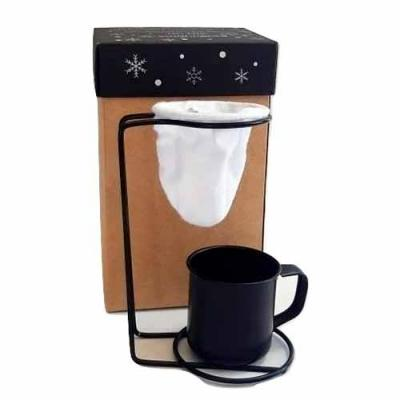 Kit Café personalizado em caixa de papel duplex com caneca de inox colorida e coador individual d...