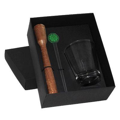Kit caipirinha com copo de vidro, socador e mexedor - Design Promo