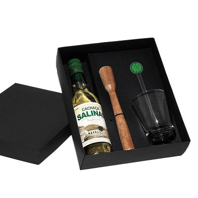 Kit caipirinha com copo de vidro, socador e mexedor e cachaça Salinas 300 ml - Design Promo