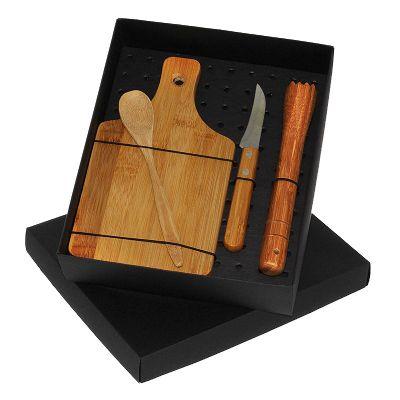 Kit caipirinha com socador e colher de madeira e faca de inox - Design Promo