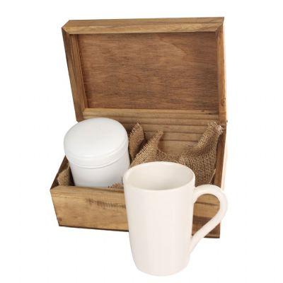 Design Promo - Kit em caixa de madeira envelhecida com caneca de porcelana de 300 ml com lata de alumínio para chá com gravação na caneca na lata e na tampa da caixa...