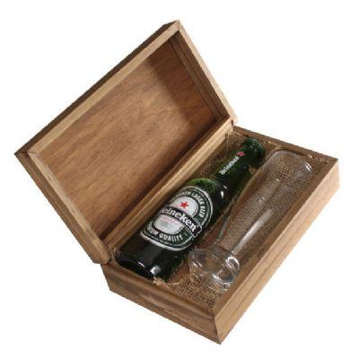 design-promo - Kit cerveja com copo em caixa de madeira
