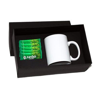 Kit chá com sachê e caneca de porcelana