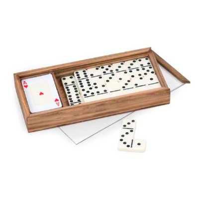 design-promo - Caixa de madeira envelhecida com dominó e baralho