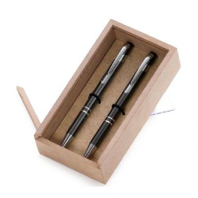 Kit escritório com caneta e lapiseira em caixa de madeira MDF - Design Promo