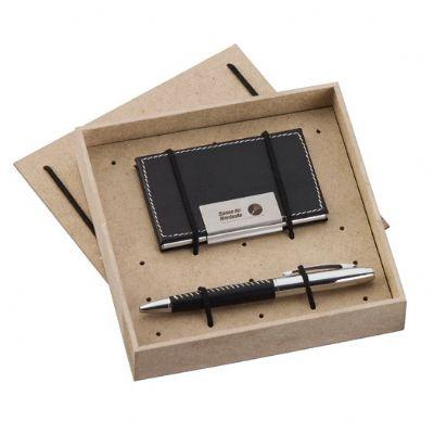 Kit escritório com porta-cartão e caneta - Design Promo