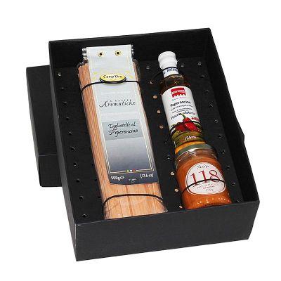 Kit gourmet em caixa de papel duplex com macarrão Italiano - Design Promo